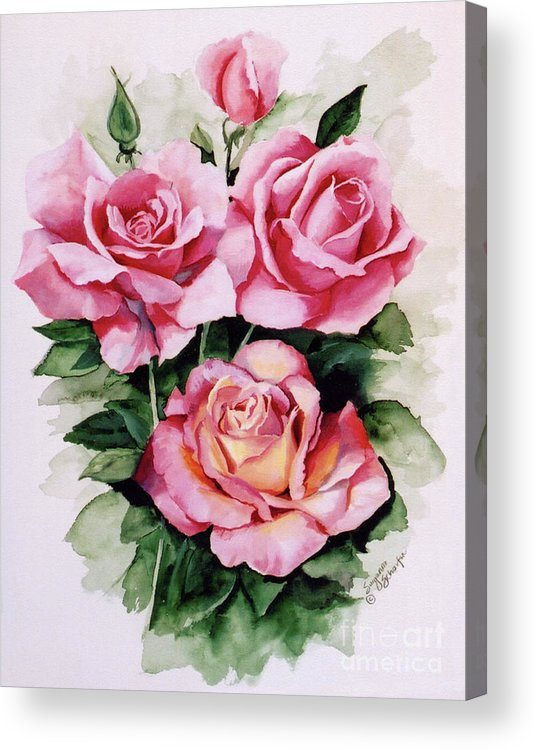 Roses Acrylic Print featuring the painting Dainty Ladies by Suzanne Schaefer