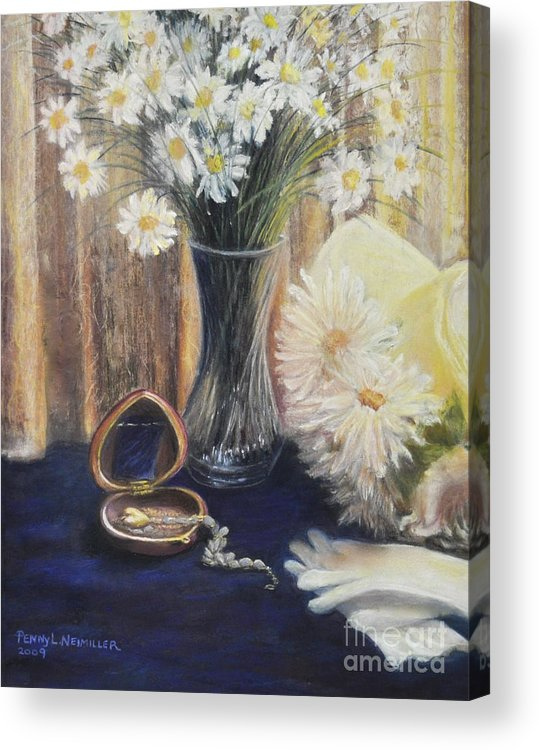 Paintings With Daisys In Acrylic Print featuring the painting Daisy Love by Penny Neimiller