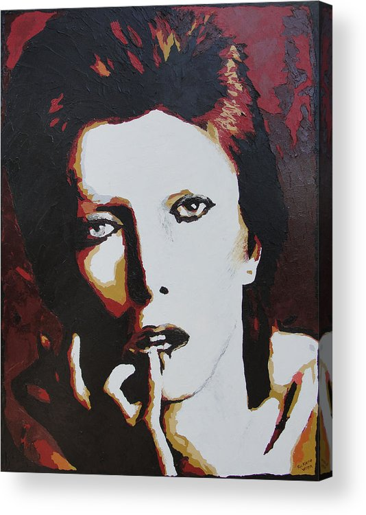 David Bowie Acrylic Print featuring the painting David Bowie by Ricklene Wren