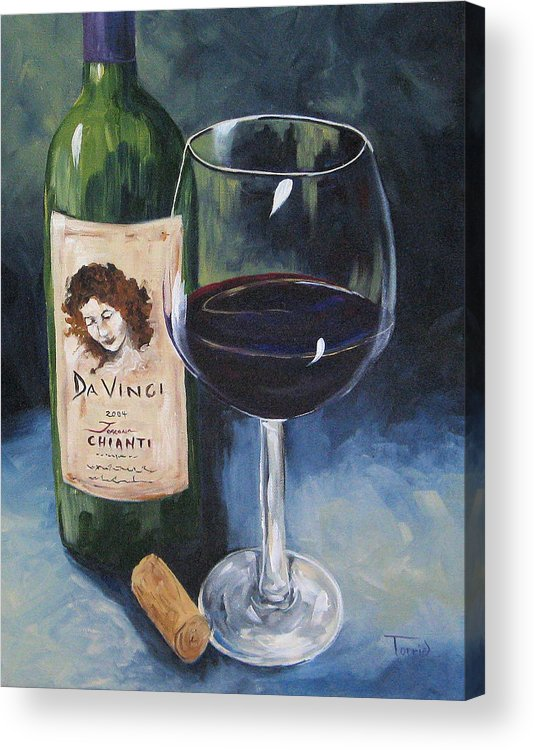 Wine Acrylic Print featuring the painting Davinci Chianti For One  by Torrie Smiley