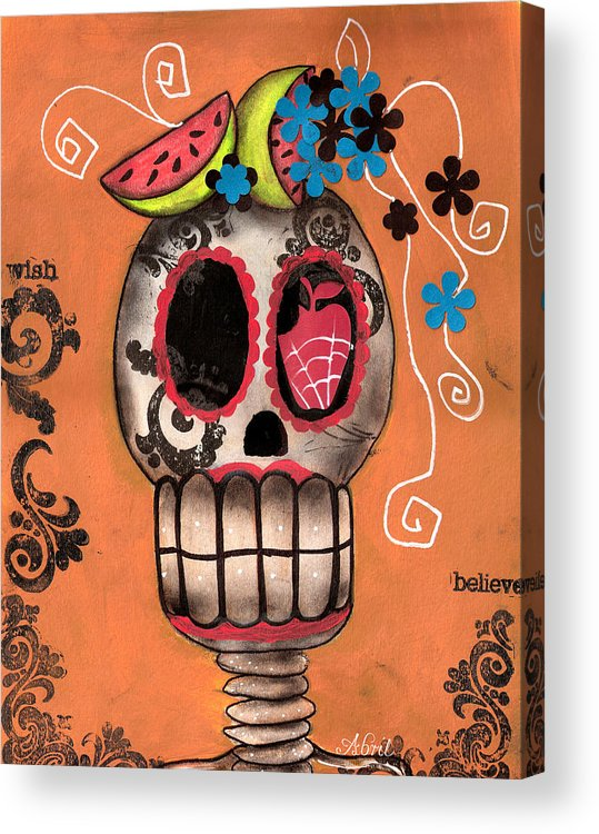 Day Of The Dead Skeleton Acrylic Print featuring the painting Day Of The Dead Watermelon by Abril Andrade Griffith