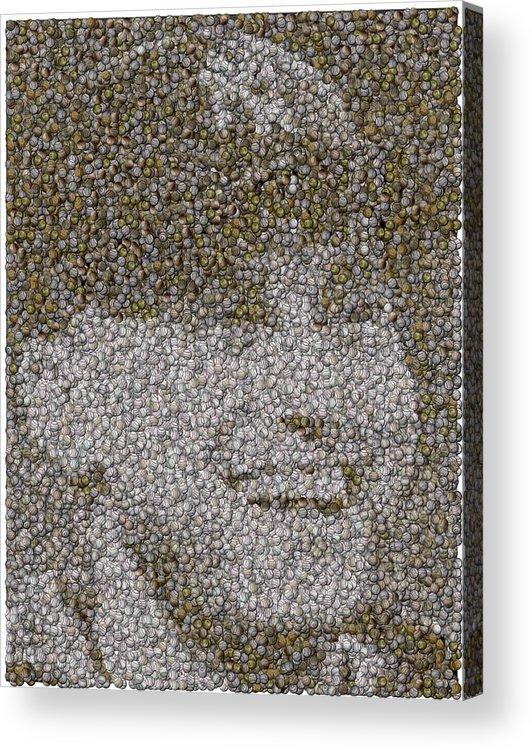 New York Acrylic Print featuring the mixed media Derek Jeter Baseballs Mosaic by Paul Van Scott