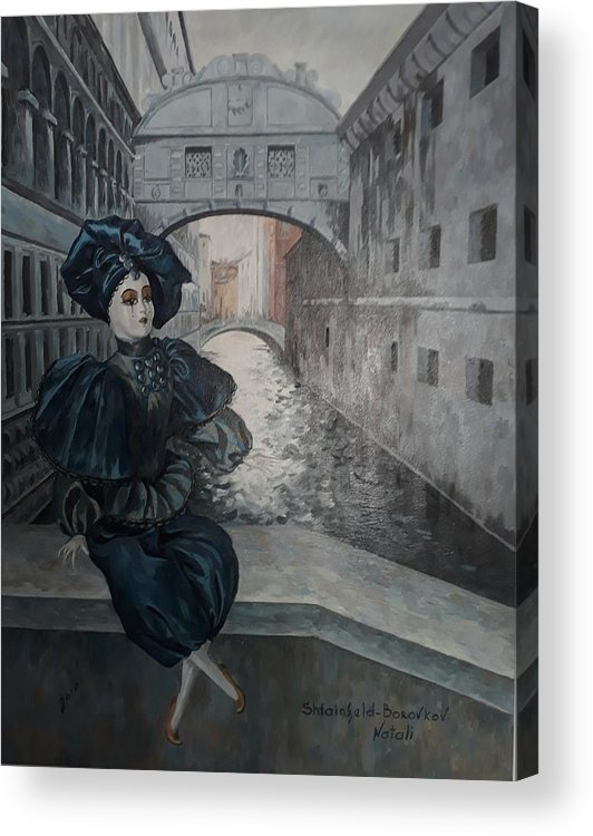 Landscape With Figure. Acrylic Print featuring the painting Doll In Venice by Natalia Shtainfeld-Borovkov