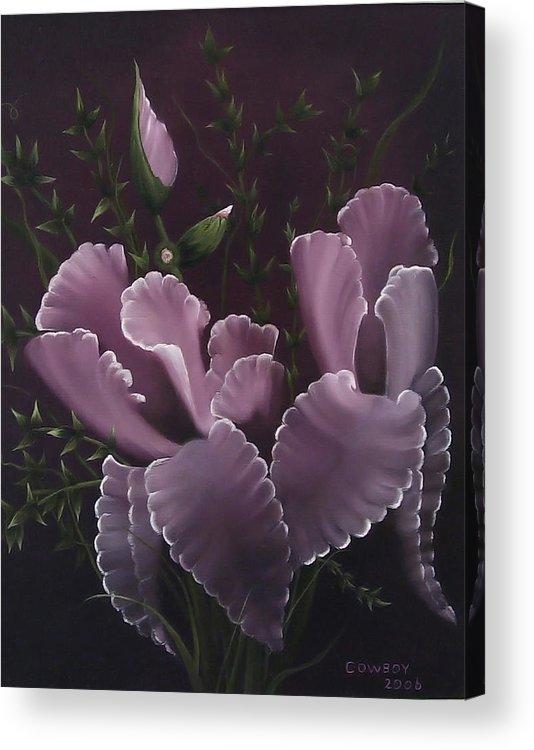 Iris Acrylic Print featuring the painting Double Iris by Darren Yarborough