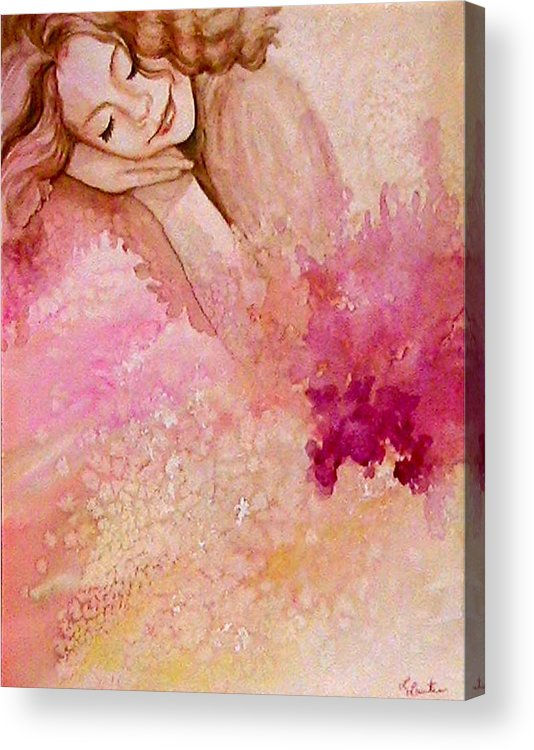 Portrait Acrylic Print featuring the painting Dream by L Lauter