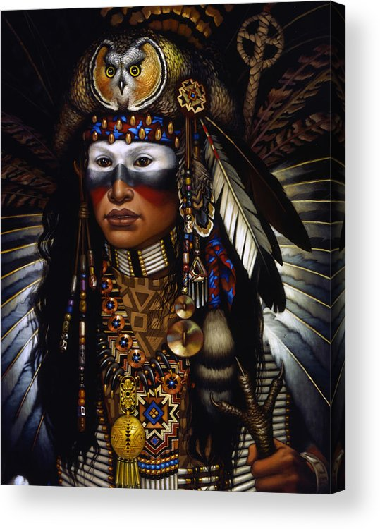 Indian Acrylic Print featuring the painting Eagle Claw by Jane Whiting Chrzanoska