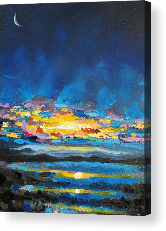 Moon Acrylic Print featuring the painting Electric Skies by Seth koan kyanra