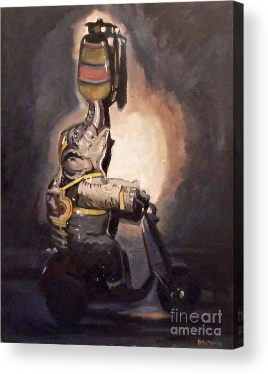 Toy Acrylic Print featuring the painting Elephant On Wheels by Deb Putnam