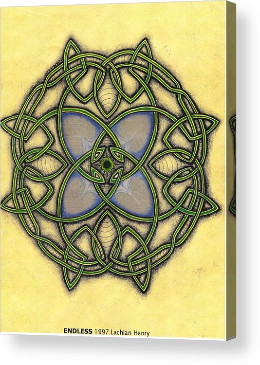Knotwork Acrylic Print featuring the drawing Endless by Lachlan Henry