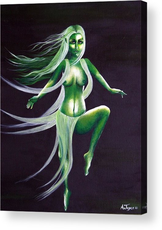Fairy Acrylic Print featuring the painting Fairy Of The Green Glens by Aoife Joyce