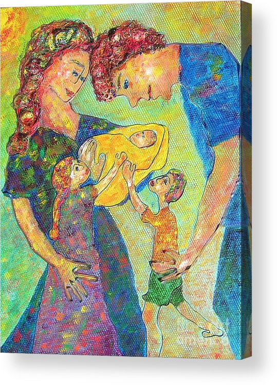 Family Enjoying Each Other Acrylic Print featuring the painting Family Matters by Naomi Gerrard