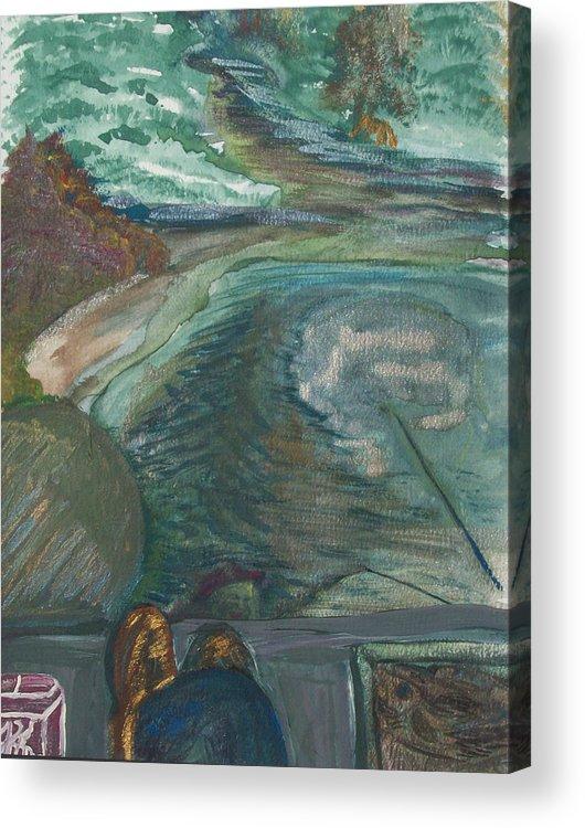 Fishing Acrylic Print featuring the painting Fishing by Jennifer K Machado