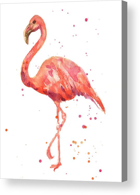 Flamingo Acrylic Print featuring the painting Flamingo Facing Left by Alison Fennell