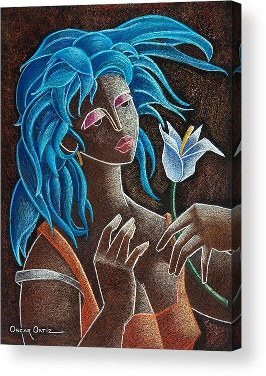 Puerto Rico Acrylic Print featuring the painting Flor Y Viento by Oscar Ortiz