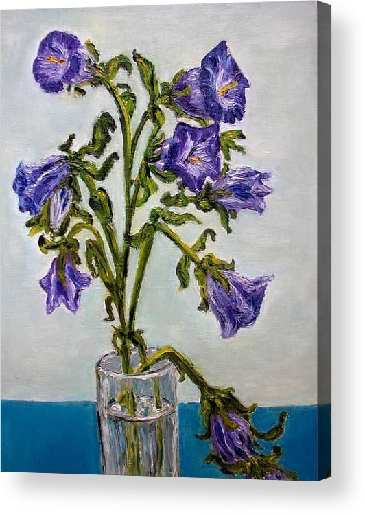 Flower Acrylic Print featuring the painting Flower Bluebells Original Oil Painting by Natalja Picugina