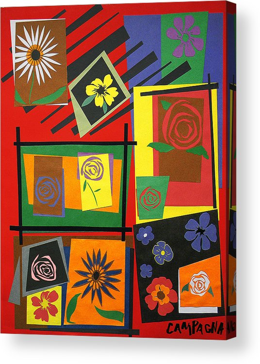 Cut Paper Acrylic Print featuring the tapestry - textile Flower Study 2 by Teddy Campagna