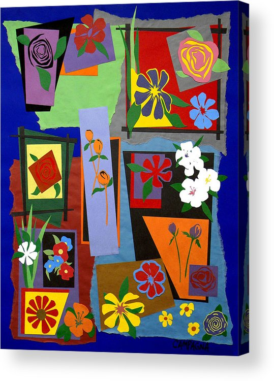 Cut Paper Acrylic Print featuring the tapestry - textile Flowers Study 1 by Teddy Campagna