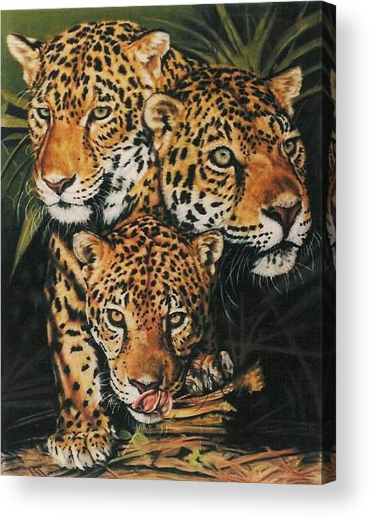 Jaguar Acrylic Print featuring the pastel Forest Jewels by Barbara Keith