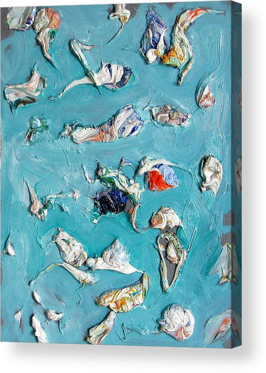 Abstract Acrylic Print featuring the painting Frozen. Colorful Painter Palette. Exhausted Paint And Abstract Painting. by Vitali Komarov