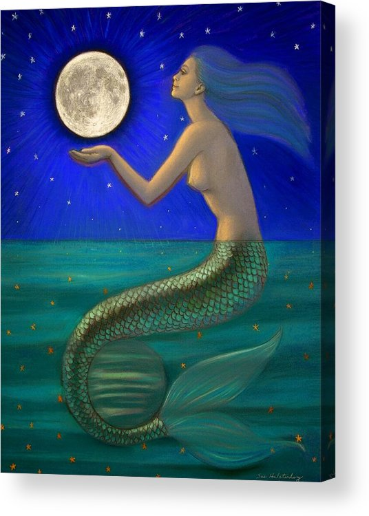 Mermaids Acrylic Print featuring the painting Full Moon Mermaid by Sue Halstenberg