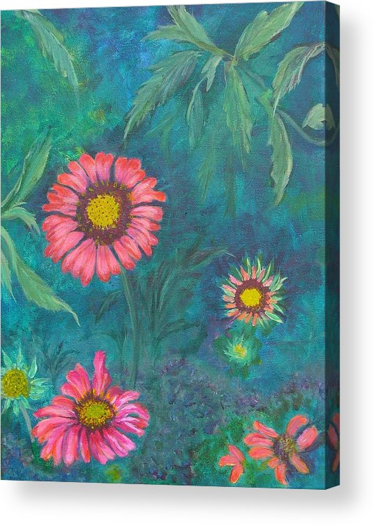 Garden Acrylic Print featuring the painting Gallardia by Peggy King