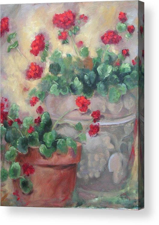 Geraniums Acrylic Print featuring the painting Geraniums by Ginger Concepcion