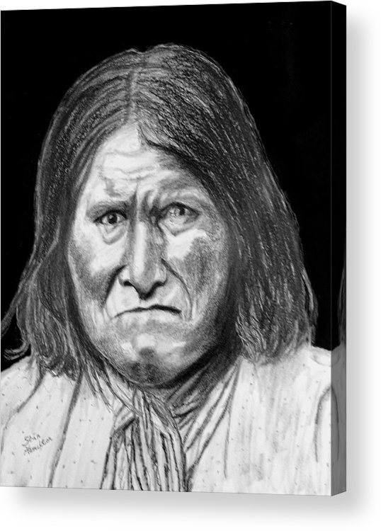 Indian Portrait Acrylic Print featuring the drawing Geronamo by Stan Hamilton