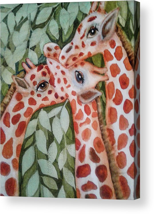 Painting Acrylic Print featuring the painting Giraffe Trio By Christine Lites by Allen Sheffield