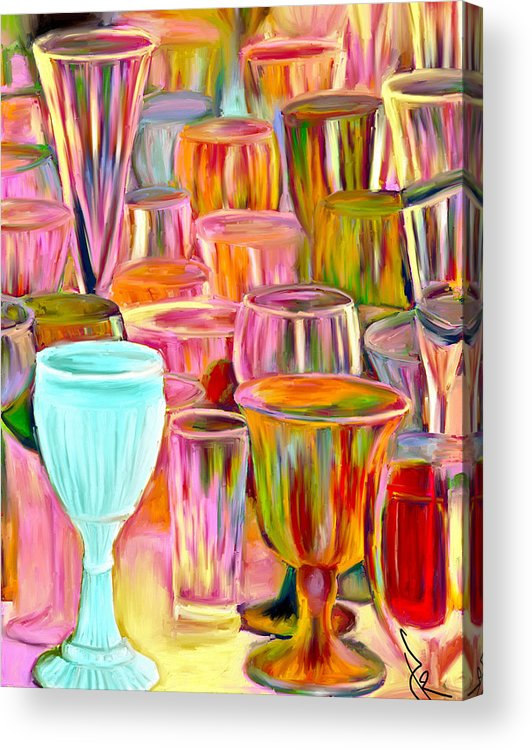 Glasses Acrylic Print featuring the painting Glass Collection by Jude Reid