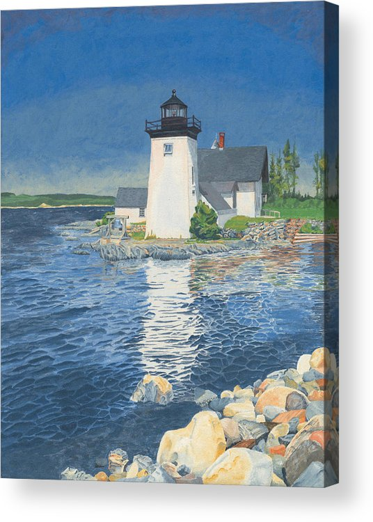 Lighthouse Acrylic Print featuring the painting Grindle Point Light by Dominic White