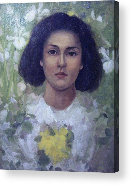 Portrait Acrylic Print featuring the painting Gypsy Girl by James Stuart Park