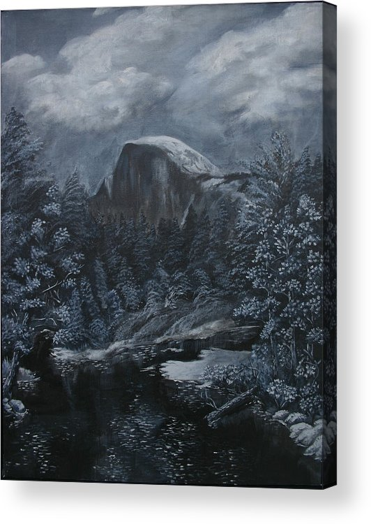 Yosemite Acrylic Print featuring the painting Half Dome Black And White by Travis Day