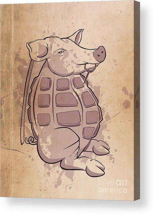Pig Acrylic Print featuring the digital art Ham-grenade by Joe Dragt