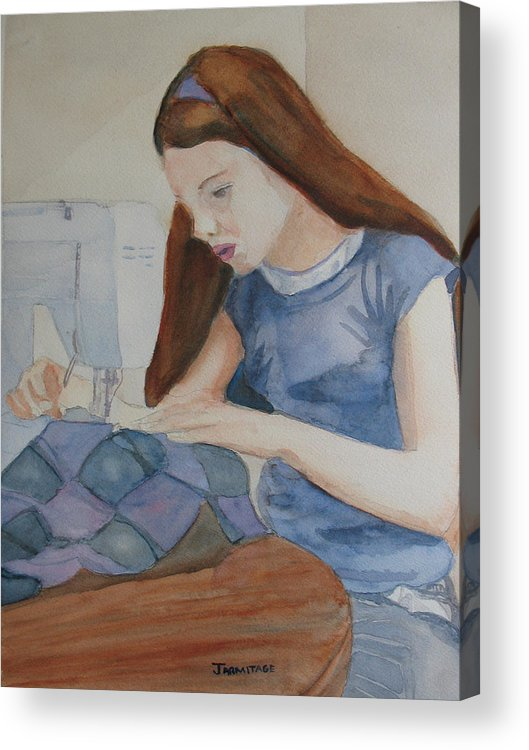 Girl Acrylic Print featuring the painting Her First Quilt by Jenny Armitage