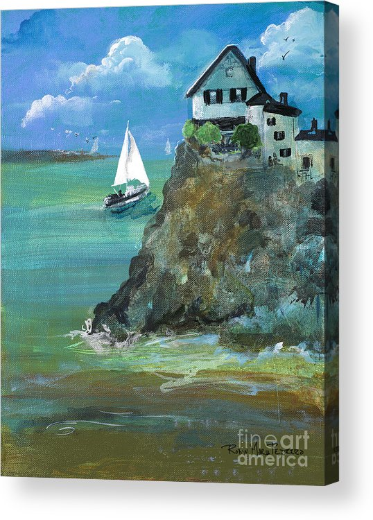 Home Acrylic Print featuring the painting Home Overlooking The Sea by Robin Maria Pedrero