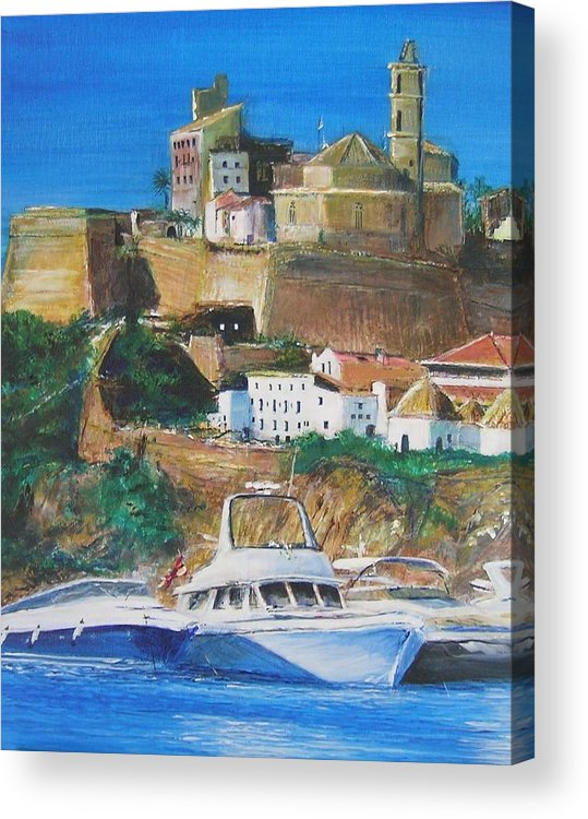 Original Landscape Painting Acrylic Print featuring the painting Ibiza Town by Lizzy Forrester