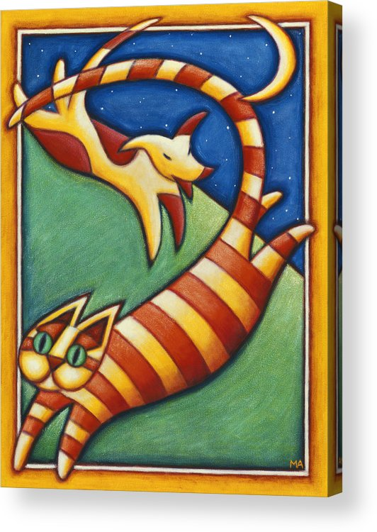 Whimsical Acrylic Print featuring the painting In Hot Pursuit by Mary Anne Nagy
