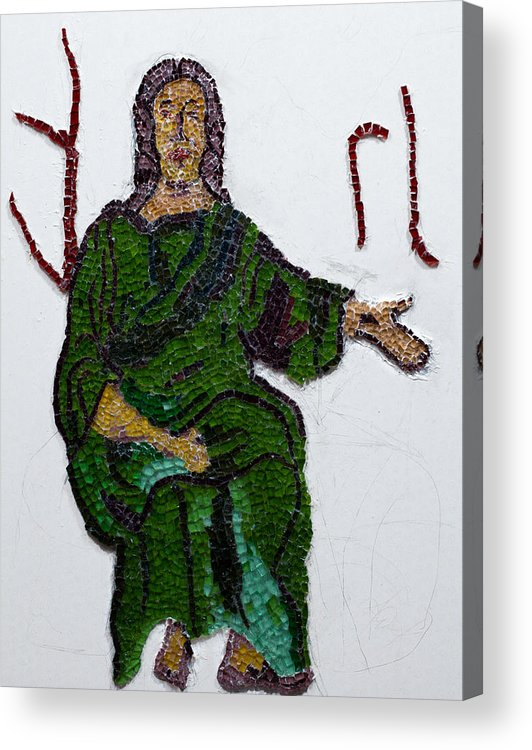 Stained Glass Mosaic Acrylic Print featuring the glass art Jesus by Emma Kinani