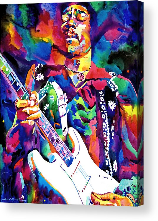 Jimi Hendrix Acrylic Print featuring the painting Jimi Hendrix Purple by David Lloyd Glover