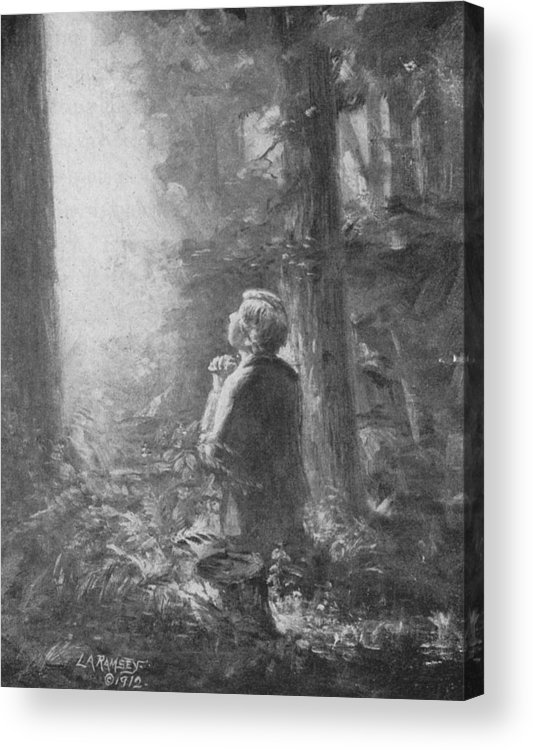 First Vision Acrylic Print featuring the painting Joseph Smith Praying In The Grove by Lewis A Ramsey