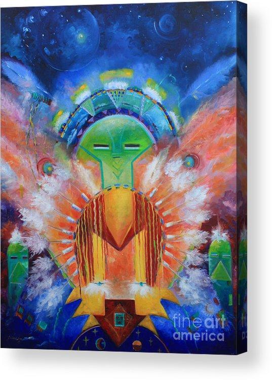 Native American Acrylic Print featuring the painting Kachina Spirit by Gail Salitui