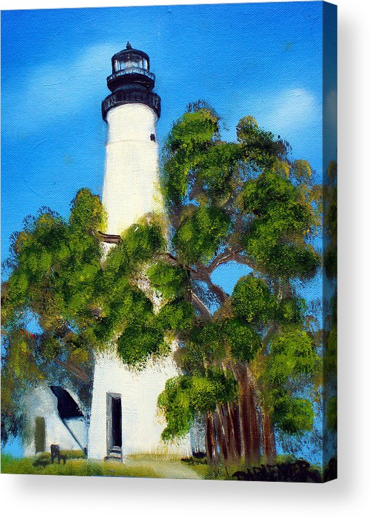Lighthouse Acrylic Print featuring the painting Key West Lighthouse by Darlene Green
