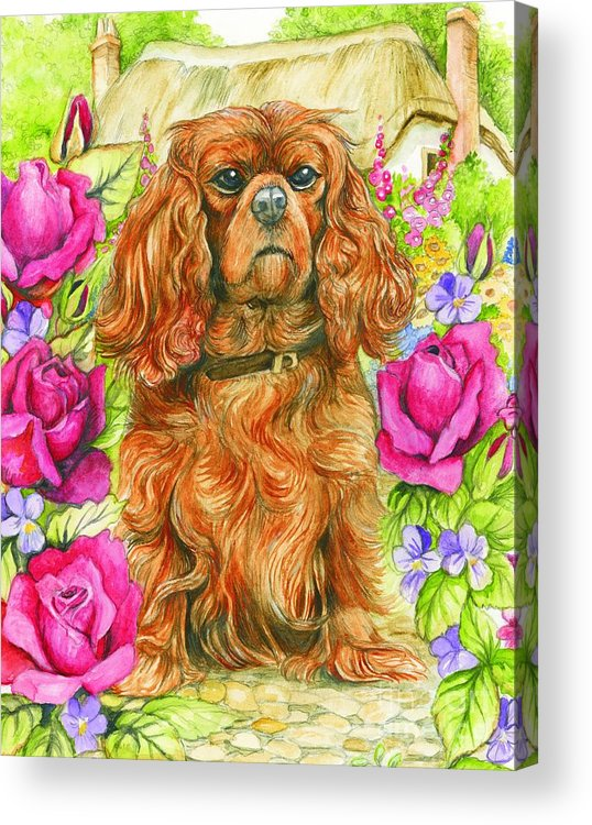 King Acrylic Print featuring the painting King Charles Spaniel by Morgan Fitzsimons