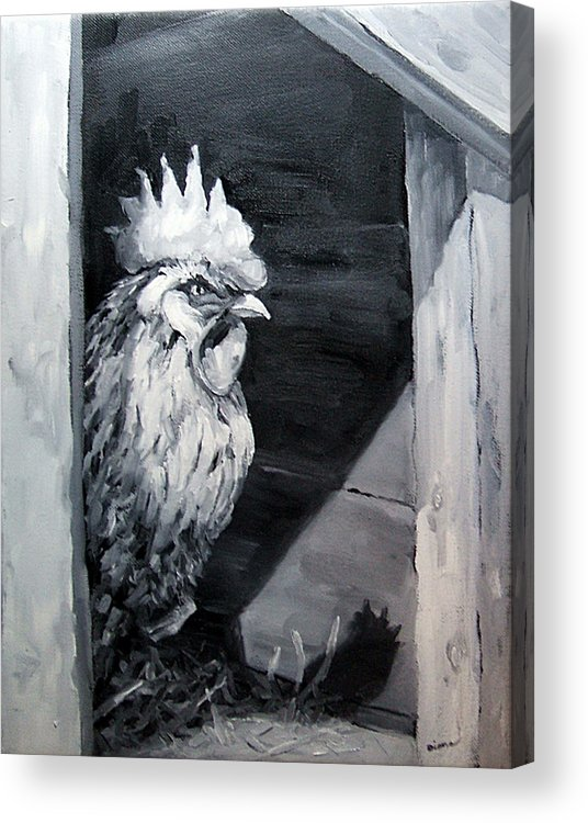 Animal Acrylic Print featuring the painting King Of The Roost by Diane Kraudelt