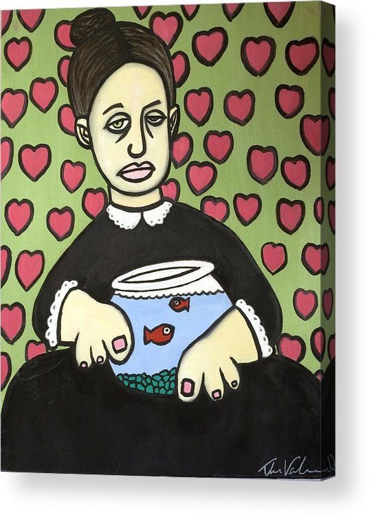 Acrylic Print featuring the painting Lady With Fish Bowl by Thomas Valentine