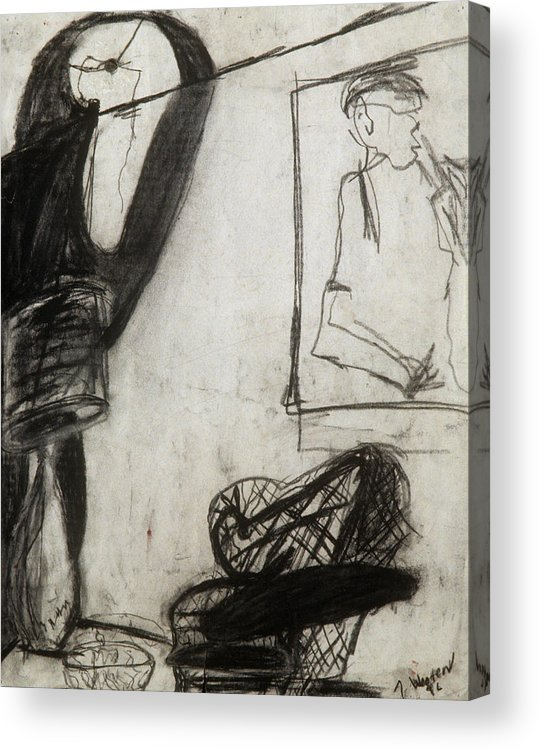 Charcoal Acrylic Print featuring the drawing Lampshade Drama by Jamie Wooten