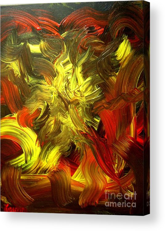 Abstract Acrylic Print featuring the painting Laughing Lion by Karen L Christophersen
