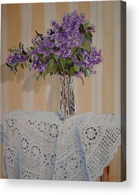 Original Watercolour Of Lilacs And Lace Acrylic Print featuring the painting Lilacs And Lace by Sharon Steinhaus