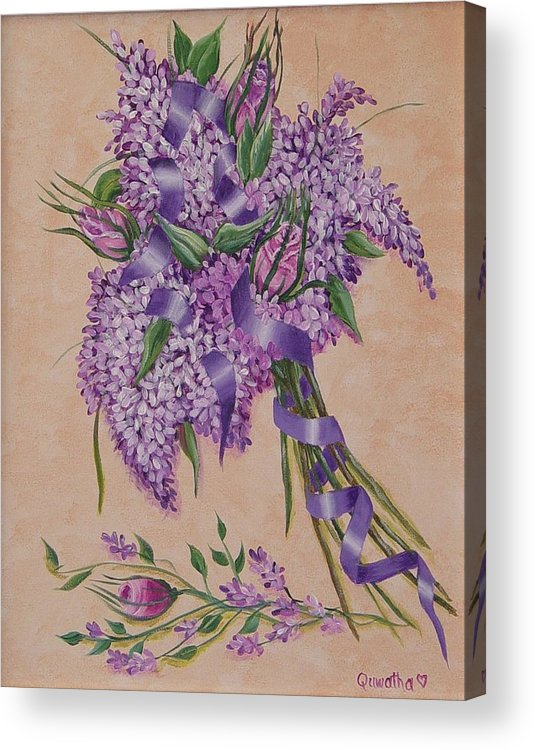 Lilacs Acrylic Print featuring the painting Lilacs by Quwatha Valentine
