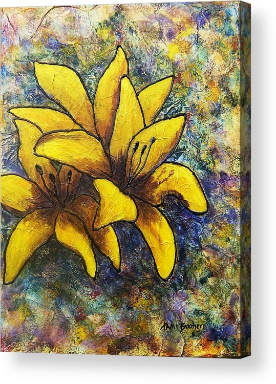 Flowers Acrylic Print featuring the painting Lilies by Tami Booher